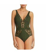 BECCA by Rebecca Virtue Color Play Plunge Bay Leaf Crochet One-Piece Swi... - $52.26