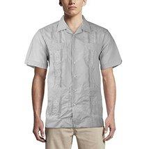 Alberto Cardinali Men's Guayabera Short Sleeve Cuban Casual Dress Shirt (L, Grey