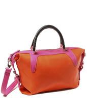 Amrita Singh Color Block Faux Leather Woven Handle Large Satchel Bag NWT - $44.06
