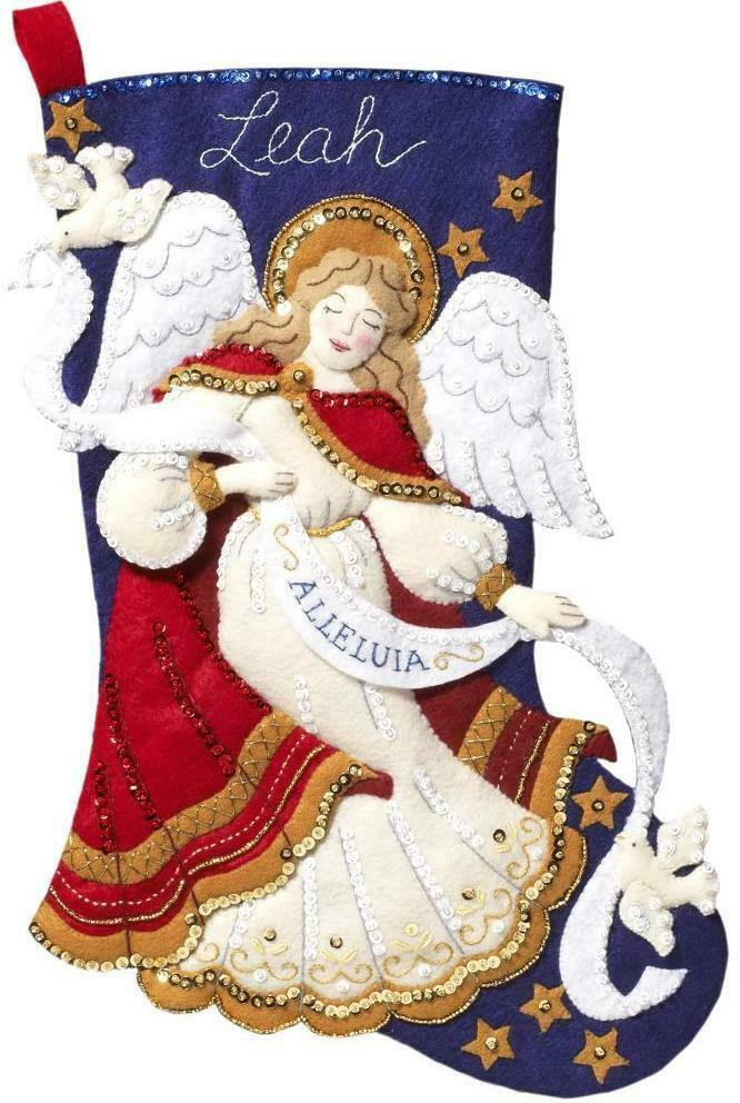 Primary image for Bucilla Christmas Angel Dove Alleluia Heavenly Holiday Felt Stocking Kit 86860