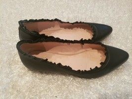 Kate Spade New York Nicole Women's Ruffled Trim Leather Black Flats Sz 8.5 $198 - $46.74