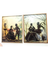 Vintage Silhouette Couple in Winter Sightseeing Convex Glass Framed Plaq... - $29.99