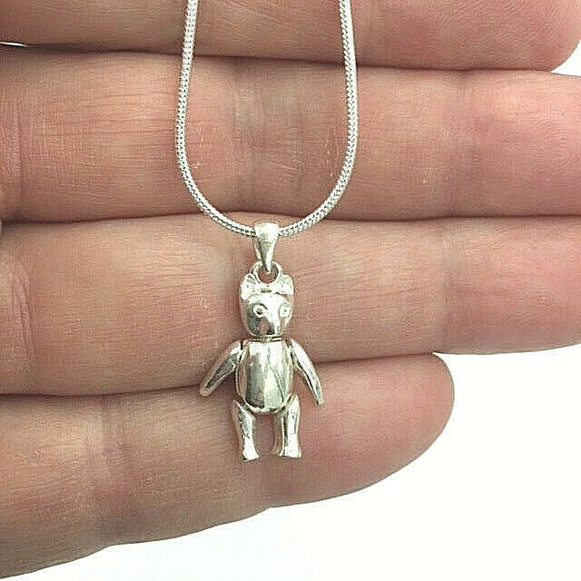 Primary image for Wiggly Pooh Bear Pendant Necklace Genuine Solid Sterling Silver NEW