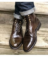 Men's Handmade Chestnut Leather Ankle High Dress Boots Best Formal Boots - $179.99+