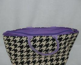 GANZ Brand ER39334 Style 101 Large Burlap Black Cream Purse Purple Handle image 3