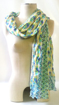 "GENUINE STELLA & DOT Union Square Scarf PASTEL IKAT Viscose 38""x70"" Pack... - $21.80"