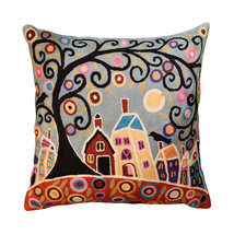 House Barn Birds & A Tree Karla Gerard Pillow Cover Handembroidered Wool... - $59.00