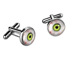 Green Monster Eyes Sci-fi Creature Eyeballs Silver Handmade Cufflink Set... - $32.39