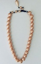 "Faux Pearl Necklace Vintage 1950s Strand Champagne Tone Choker Pink 7"" Long - $17.81"