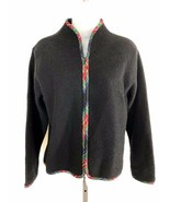 Vintage PENDLETON sz L black tartan trim zipper front wool jacket - $49.49