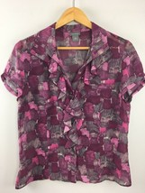 Ann Taylor Top 10 Purple 100% Silk Ruffle Short Sleeve Semi Sheer Shirt ... - $10.99