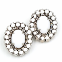 Kramer Vintage White Cabochon and Rhinestone Earrings, Mid Century & Des... - $37.00