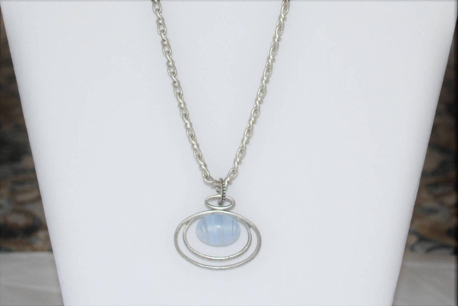 Blue Glass Quartz Floating Silver Pendant