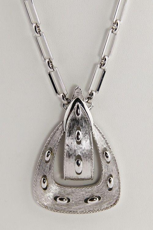 VINTAGE Jewelry MONET RUNWAY SILVER METAL FIGURAL BUCKLE NECKLACE & EARRINGS SET