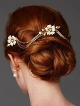 Ivory & Gold Floral Rhinestone Hair Combs with Genuine Preciosa Crystal ... - $147.96