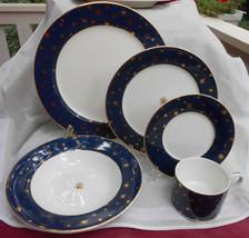 SAKURA GALAXY BLUE DINNERWARE 9 PC CUP SAUCER SOUP BOWL DINNER PLATE SAL... - $84.14