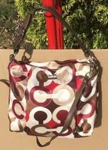 Auth COACH Brown Beige Satin Leather One Shoulder Handbag 21234 - $105.00