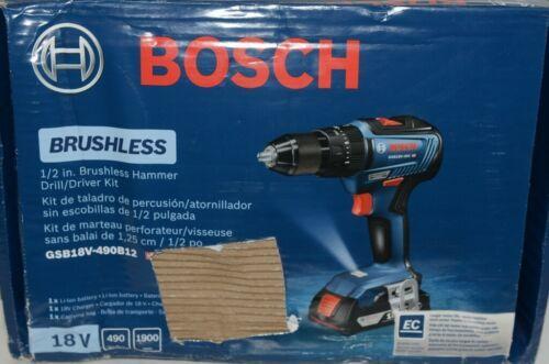 BOSCH GSB18V 490B12 18V Brushless Hammer Drill Driver Kit with Battery