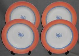 Set (4) Studio Nova Paradise Pattern Rimmed Soup Bowls Petite Bone China - $55.43