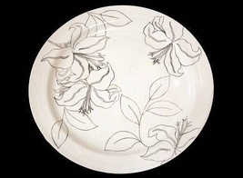 "Large Laurie Gates ANTILLES Black & White Flower Outline 14-3/4"" Platter Plate - $32.99"
