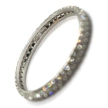 18K WHITE GOLD ETERNITY BAND RING, DOUBLE CUBIC ZIRCONIA ROW, THICKNESS 2.5 MM image 2