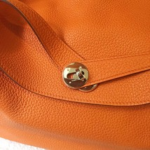 100% Authentic HERMES Taurillon Clemence Lindy 34 ORANGE Shoulder Bag PHW image 5