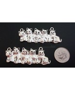 2 Large Kitten family silver plated charms, pendants, centerpieces CFP099 - $2.95