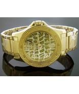 Men King Master Quartz watch yellow gold tone case 12 diamonds watch - $59.39