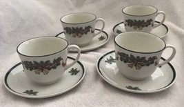 Johnson Brothers Victorian Christmas Teacups & Saucers Holly Bells Tea Cup (4) - $29.69