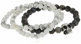 Three Simulated White Marble & Black Lava Beaded Stainless Steel Skull Bracelets