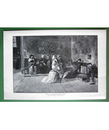 ITALY Women Prayer at Church of Asissi - VICTORIAN Antique Print - $12.15