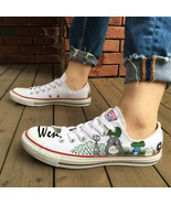 My Neighbor Totoro Converse Hand Painted Shoes Low Top White Canvas Snea... - $145.00
