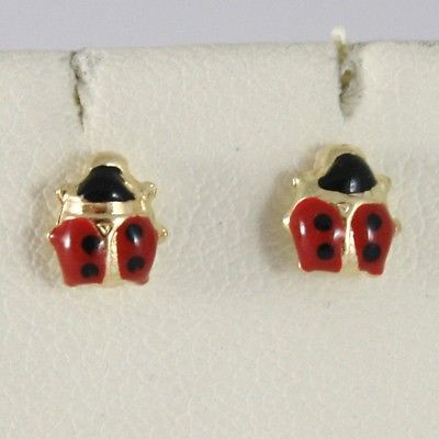 Baby Earrings in Yellow 750 18k Stud, Mini Ladybug Enamel 5 MM