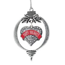 Inspired Silver Red Happy Holidays Pave Heart Holiday Decoration Christmas Tree  - $14.69