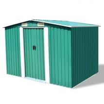 Garden Storage Shed Green Metal Tools Depot Floor Frame Equipment Patio ... - $449.00