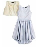 $68 Girls 2 Pc D-Signed Disney Easter Blue Dress & White Fx Fur Bolero Set-sz 6 - $33.66