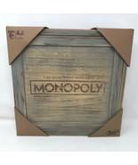 NIP Monopoly Wooden Board Game Rustic Look Collectors Hasbro Property Tr... - $59.39