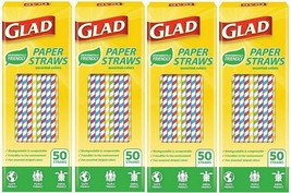 Glad Biodegradable Paper Straws 50 Count Assorted Colors - $24.74