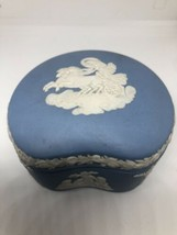 Wedgwood Pale Blue Jasperware Bean Shaped Trinket Box & Lid  - $54.45