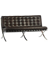 Cigar Brown Top Grain Leather Lounge Chair Contemporary Stainless Steel,... - $1,978.02