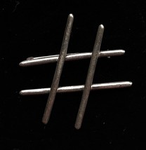 TIC TAC TOE Pound Sign Sterling Silver Vintage BROOCH Pin - 2 inches - $48.00
