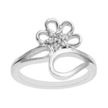 925 Sterling Silver White Topaz Gemstone Floral Cluster Women Wedding Ba... - $17.00+