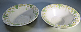 Vintage 2 Soup Bowls Metlox Poppytrail Sculptured Daisy Calif. USA 7'' - $25.00