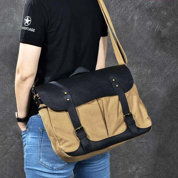 On Sale, Horse Canvas With Leather Messenger Bag, Men Shoulder Bag Satchel Bag image 3