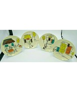 "Vintage MCM Inspired 6.5"" Plates Boston Warehouse Shopping / Cafe Scenes (4) - $23.99"