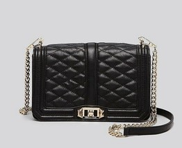 NWT Rebecca Minkoff Love Quilted Leather Crossbody Bag BLACK GOLD $300 A... - $198.00