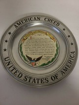 "Vintage Wilton Pewter American Creed United States Of America 11"" Plate EUC - $39.99"