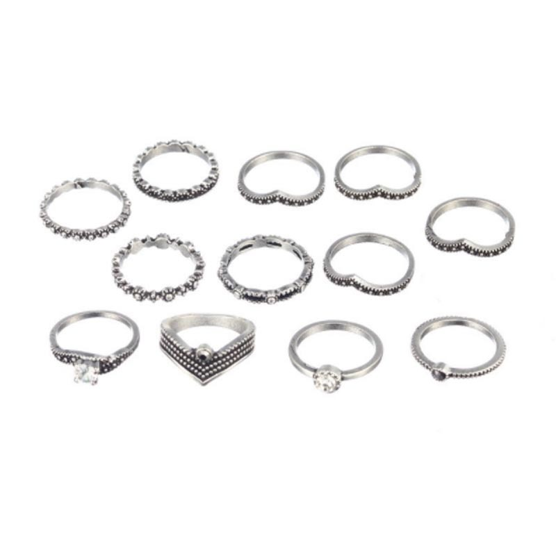 Primary image for 12pcs/Set Bohemia Rhinestone Rings Set Antique Silver Alloy Midi Knuckle Rings f