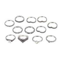 12pcs/Set Bohemia Rhinestone Rings Set Antique Silver Alloy Midi Knuckle... - $10.44