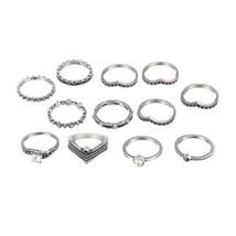 12pcs/Set Bohemia Rhinestone Rings Set Antique Silver Alloy Midi Knuckle Rings f - $10.44